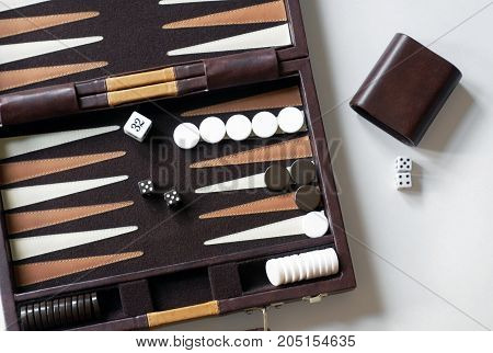 Close up of a portable Backgammon Game.