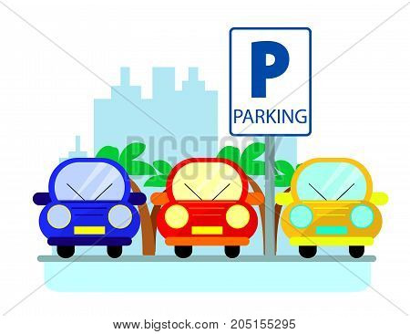 Parking concept with red green and blue Cars in flat style over city silhouette. Flat Illustration
