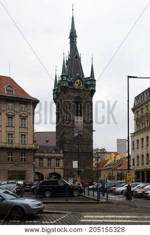 PRAGUE CZECH REPUBLIC - FEBRUARY 03 2014: The bell tower of the church Holy Roman Emperor Saint Henry II and Saint Cunigunde of Luxembourg