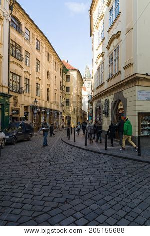 PRAGUE CZECH REPUBLIC - FEBRUARY 03 2014: The old streets in the historic center of the Old Town of the Prague.