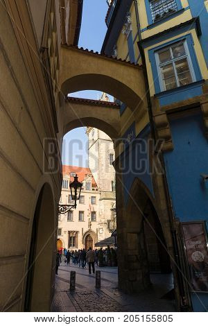 PRAGUE CZECH REPUBLIC - FEBRUARY 03 2014: The streets near the Old Town Square in the heart of Old Town of the Prague
