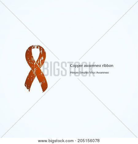 Copper Awareness Ribbon. Painted. Herpes Simplex Virus, HSV 1. Isolated icon. List of meanings, symbol, name of color.