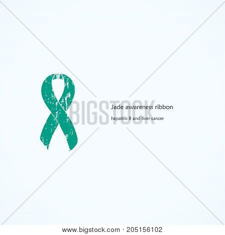 Awareness Jade Ribbon. Painted. Hepatitis B, liver cancer. Isolated icon. List of meanings, symbol, name of color.