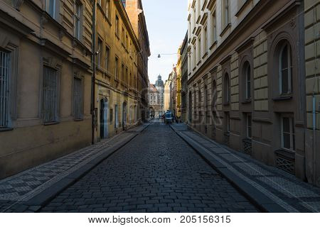 PRAGUE CZECH REPUBLIC - FEBRUARY 03 2014: The streets in the historic center of New Town of the Prague.