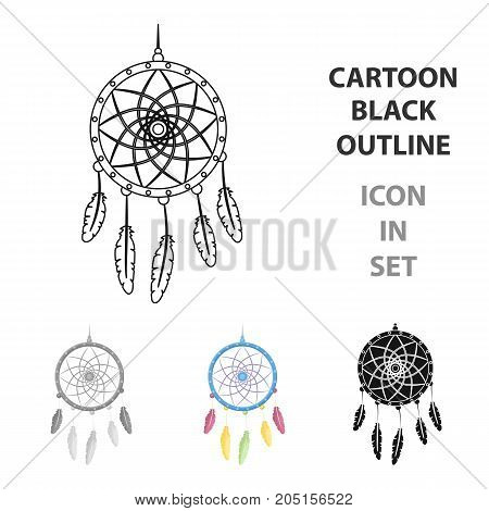 Dream catcher with feathers.Hippy single icon in cartoon style vector symbol stock illustration .