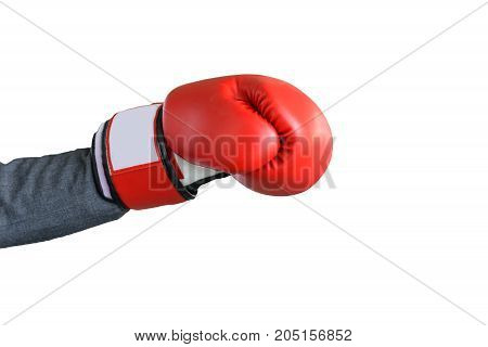 businessman hand wearing boxing glove isolated on white background