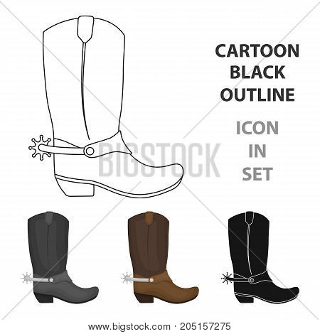 Cowboy boots icon in cartoon design isolated on white background. Rodeo symbol stock vector illustration.