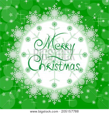 Christmas green card with a greeting Merry Christmas