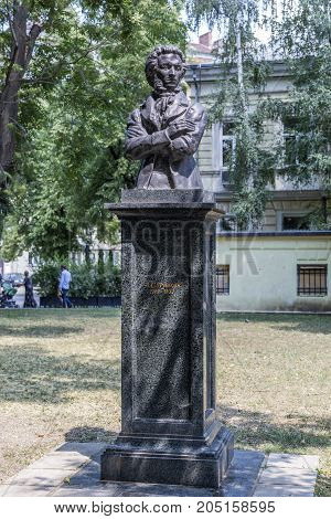 SOFIA, BULGARIA - AUGUST 09, 2017:Monument to A.S. Pushkin in Sofia Bulgaria.