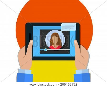 Hands holding tablet with video player on screen female video blogger concept. Vector flat illustration.