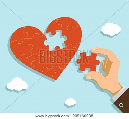Man fold the heart from puzzle pieces. Charity and donation. Stock vector illustration.