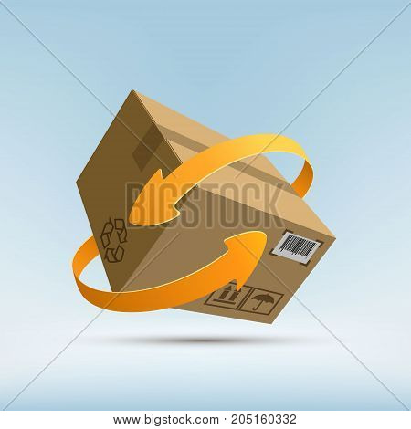 Cargo Delivery. Free And Fast Freight Transportation Around The World. Parcels By Mail. Stock Vector