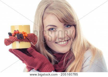 Vintage Photo, Smiling Girl In Gloves Holding Decorated Cup Of Tea, Autumn Decoration