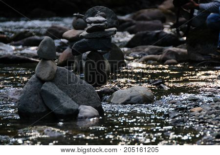 Rock Stacks in the The Colitz River near the La Wis Wis Campground in the state of Washinton
