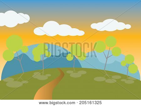 Vector : Nature, mountain forest with median evening skyline.