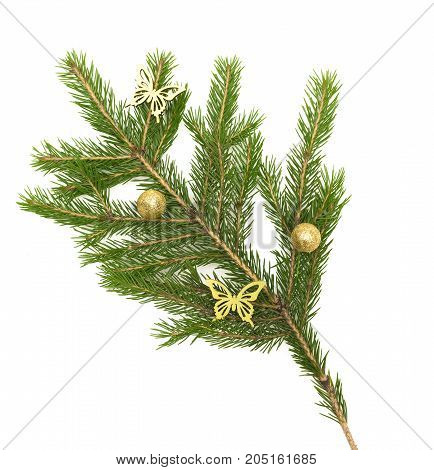 Fir tree branches with Christmas balls and toy butterfly isolated on white background. Christmas decoration.