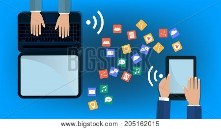 Modern Cloud Services and Cloud Computing Elements Concept. Flat Vector Illustration. Hands holds laptop and a tablet and share data on cloud. flat illustration.