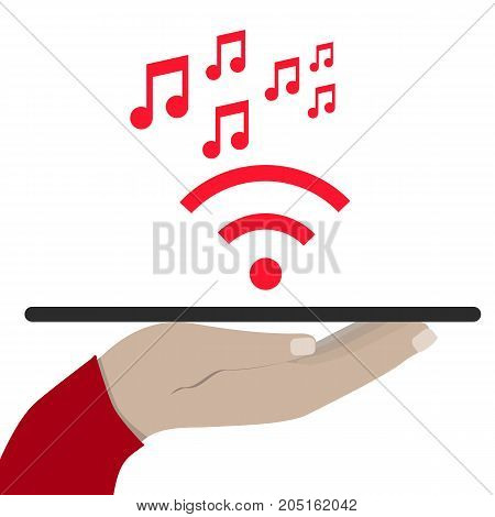 Modern Cloud Services and Cloud Computing Elements Concept. Flat Vector Illustration. Hand holds a tablet and share music. flat illustration.