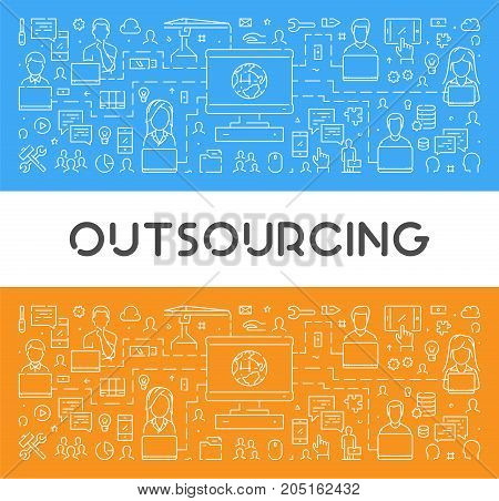 Vector line web banner for outsourcing. Modern linear concept for teamwork.