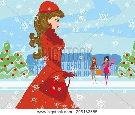 Beautiful girls on winter shopping , vector illustration