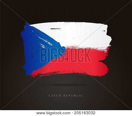 Flag of the Czech Republic. Vector illustration on a black background. Beautiful brush strokes. Abstract concept. Elements for design.