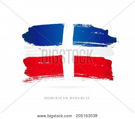 Flag of the Dominican Republic. Vector illustration on white background. Beautiful brush strokes. Abstract concept. Elements for design.