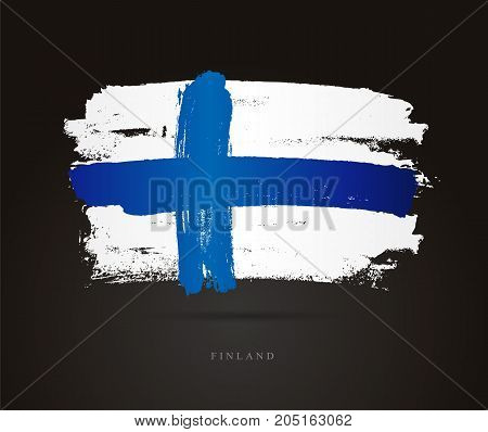 Flag of Finland. Vector illustration on a black background. Beautiful brush strokes. Abstract concept. Elements for design.