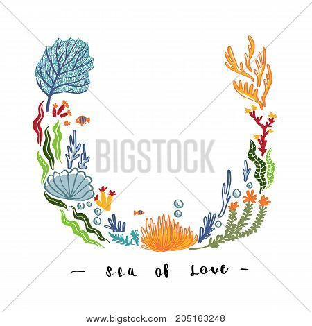 Hand draw Sea weed and flowers coral design for mock up template greeting invitation card or other uses vector illustration template vintage design.