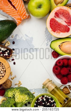 Healthy food or paleo diet concept. Food good for heart. Top view. Space for text