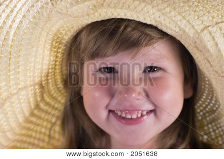 Happy Laughing Girl In Straw
