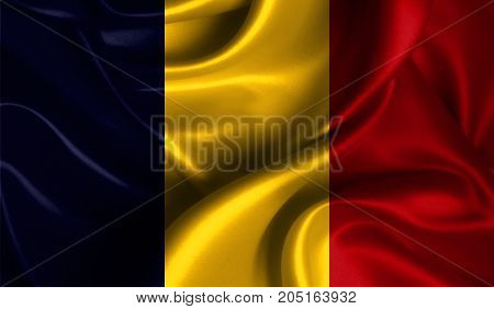Realistic flag of Chad on the wavy surface of fabric. This flag can be used in design