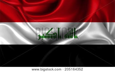 Realistic flag of Iraq on the wavy surface of fabric. This flag can be used in design