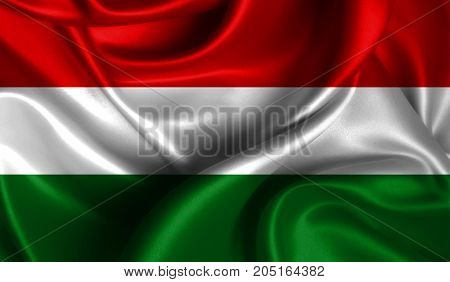 Realistic flag of Hungary on the wavy surface of fabric. This flag can be used in design