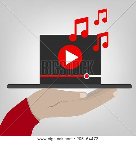 Hand holds a tablet with digital video player. flat illustration.