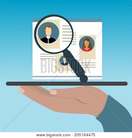 Hand holds a tablet. Concepts for Searching people employees candidates team members. Flat design illustration