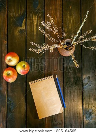 Still life with a vase, a Notepad and apples