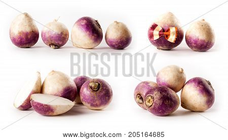 composite with turnips isolated on white background studio photo