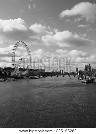 London Eye In London Black And White