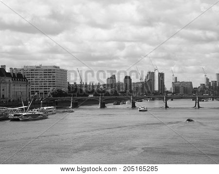 River Thames In London Black And White