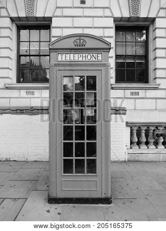 Red Phone Box In London Black And White