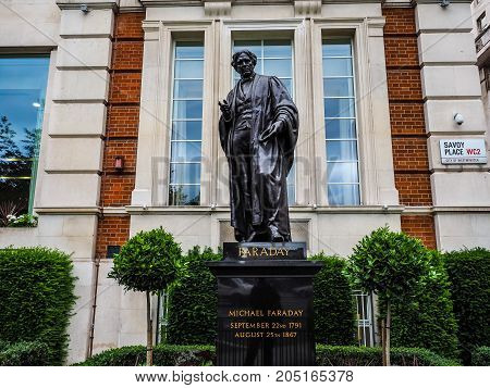 Faraday Monument In Savoy Place In London, Hdr