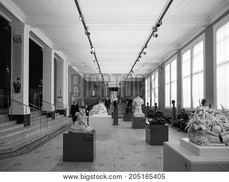 Victoria And Albert Museum In London Black And White