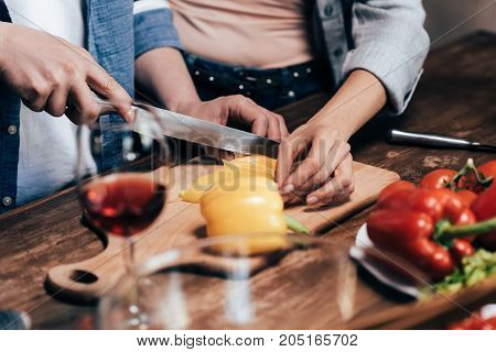 Couple Preparing Dinner Together
