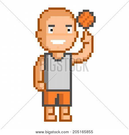 Vector 8-bit pixel art basketball on white background.