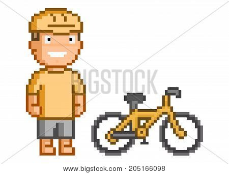 Retro 8-bit pixel cyclist for games and design.