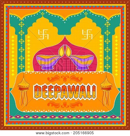Vector design of Happy Diwali India festival greeting background in Indian truck kitsch art style poster