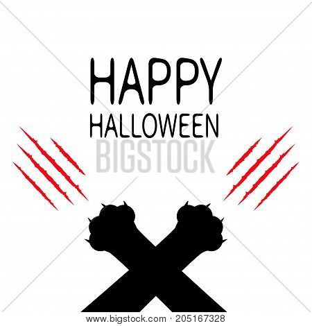 Happy Halloween. Bloody claws animal scratch scrape track. Black cat scratching paw crossed leg foot corner. Cute cartoon character silhouette. Baby pet collection. Flat design White background Vector