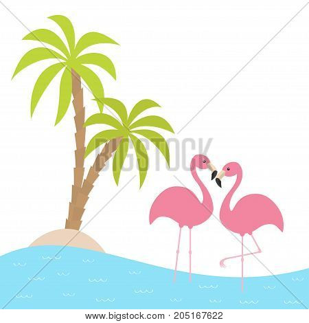 Two pink flamingo standing on one leg. Palms tree island ocean see water. Exotic tropical bird. Zoo animal collection. Cute cartoon character. Love card Flat design. White background. Vector