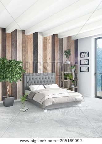 White Bedroom Minimal Style Interior Design With Wood Wall And Grey Sofa. 3D Rendering.