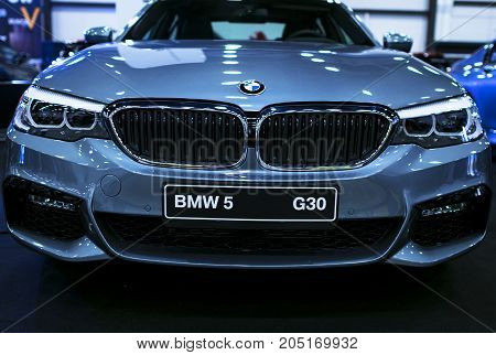 Sankt-Petersburg Russia July 21 2017: Front view of a BMW (G30) 5-series. Car exterior details. Photo Taken at Royal Auto Show July 21